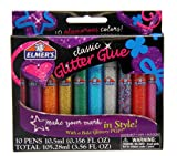 Elmers 3D Washable Glitter Pens, Classic Rainbow and Glitter Colors, Pack of 10 Pens (E199)