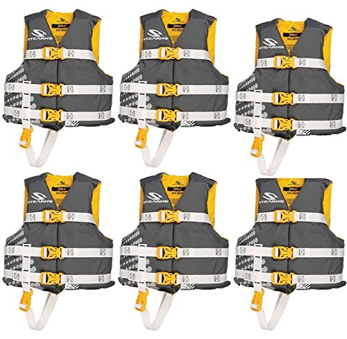 (6) COLEMAN Stearns Classic Series Kids Life Jacket Flotation Vests - 30-50Lbs