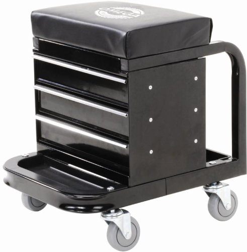 Black Tool Box Creeper Seat Tool Storage Front And Rear