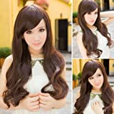 Vktech Vogue Stylish Sexy Lady Wigs Long Curly Wavy Party Light Brown Full Hair Wig