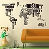 NEW World Map Removable Wall Sticker Home Decal Black 116cm*190cm