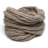 (トライバル)TRIBAL 品良く巻ける 大人カジュアルなスヌード ケーブル編みシンプルニットスヌード グレージュ