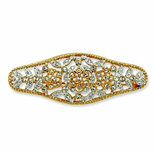 Gold-plated Swarovski Crystal Estate Style Pin