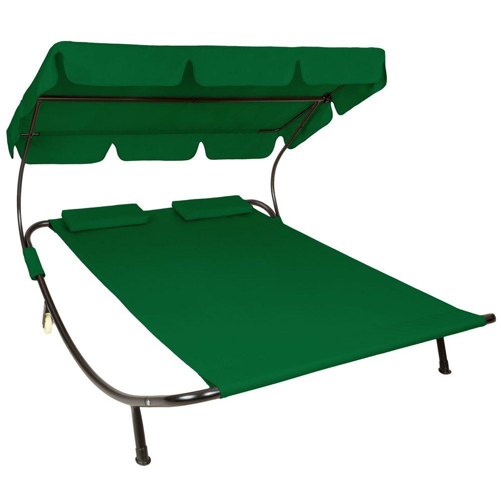 TecTake Sonnenliege Gartenliege Doppelliege mit Sonnendach + 2 Kissen grün für 2 Personen günstig bestellen
