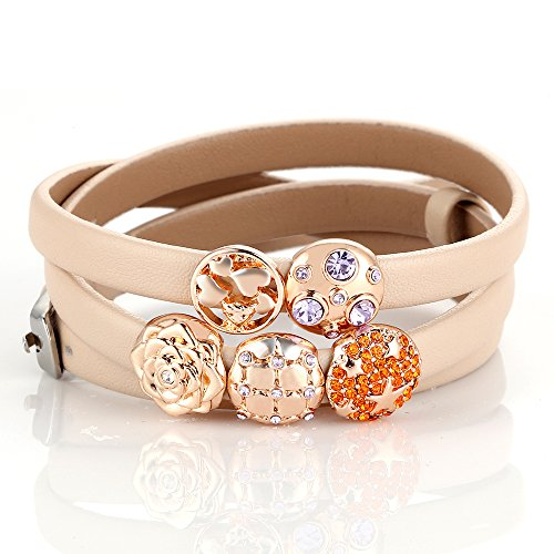 [Menton Ezil Elegant Retro Style Charm Three Wrap Leather Belt Bracelet] (Diy Cute Costumes For Teenagers)