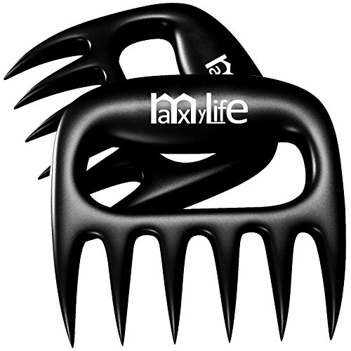 MaxyLife Matte Wolverine Meat Claws-Pulled Pork Shredder Claws [Strong Version 2.0]-BBQ Meat Handler Forks (Black)