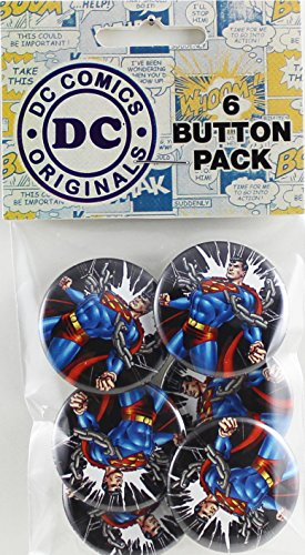 Button set DC Comics Superman Chains 6 Individual Loose Buttons, 1.25""