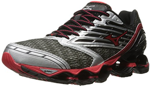 Mizuno Men's Wave Prophecy 5 Running Shoe, Gunmetal/High Risk Red, 11 D US (Mizuno Wave Prophecy Red compare prices)