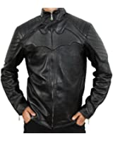 CosplayhiT Men's Christian Bale Batman Begins Leather Jacket