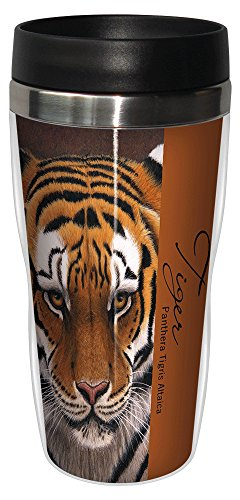 Tree-Free Greetings 25732 Jeremy Paul Siberian Tiger Sip 'N Go Stainless Lined Travel Mug, 16-Ounce