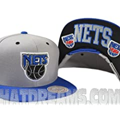 New Jersey Nets GREY 2Tone ARCH TURNOVER VELCRO STRAPBACK Mitchell & Ness... by Mitchell & Ness