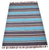 Nistha Products Cotton Floor Mat - 98.4'' x 70.8'' x 0.78'' , Sky Blue