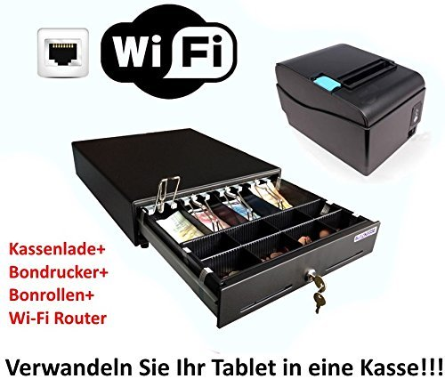 Kassen-Set-MINI-Geldlade-330x330x100mm-Bondrucker-WLAN-Router