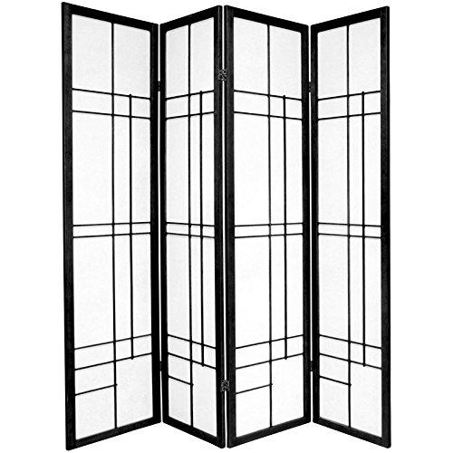 Oriental Furniture 6 ft. Tall Eudes Shoji Screen - Black - 4 Panels