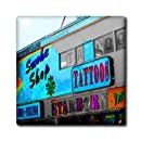 3dRose ct_60224_1 A Smoke Shop and Tattoo Building in Black and White with Some Color Ceramic Tile, 4-Inch