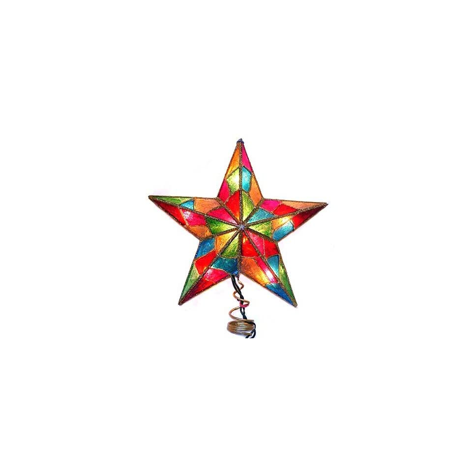 9 Lighted Multi Color Glitter Mosaic Star Christmas Tree Topper