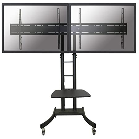 "Newstar Mobile Dual TV Floor Stand for two 32""-70"" Screens, Height Adjustable - Black"