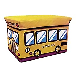 Tinksky School Bus Style Children Folding Kids Storage Box Seat Pop Up Toy Chest Christmas Birthday Gift for Children (Random Color)