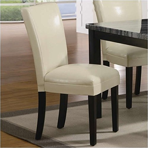 Coaster Set of 2 Parson Dining Chairs in Cream Leather Like