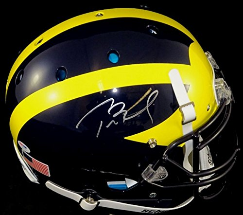 Tom Brady Autographed Michigan Wolverines Schutt XP Authentic Helmet - signed in silver. PSA/DNA