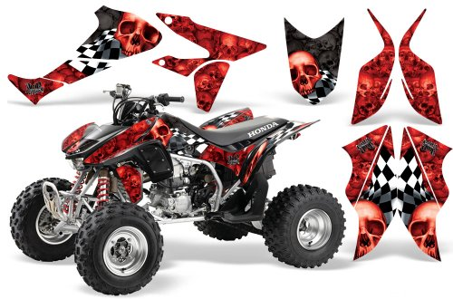 2004-2015-Honda-TRX450R-AMRRACING-ATV-Graphics-Decal-Kit-Checkered-Skull-Red-Two-Tone-BlackRed