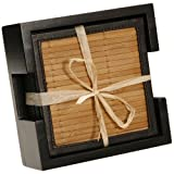 Thirstystone Bamboo Coaster Set with Wood Holder 6 Coasters Included
