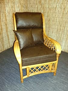 Washable Antique Leather Effect Cushion Covers for Cane Wicker and Rattan Conservatory and Garden Furniture - Dark Brown by Zippy UK