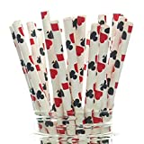 Magic Party Straws, Playing Cards Design (25 Pack) - Magician Birthday Party Supplies, Magic Trick Cake Pop Sticks, Abracadabra Magic Theme Party Favors (Color: Red, Black, Tamaño: Standard Cup)
