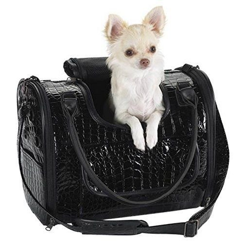 Fashion Faux Crocodile Pet Dog Cat Carrier/Tote/ Travel Handbag Black ZACK ZOEY, medium