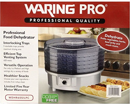 WaringPro 620W 5-Tray Professional Food Dehydrator WDHR60SILPC (Waring Pro Dehydrator Accessories compare prices)
