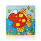 Atdoshop Butterfly Puzzle Educational Developmental Children Baby Wooden Toy Gift (Fish)