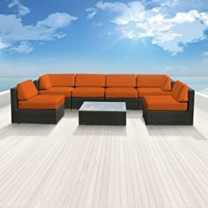Luxxella Patio Bella Genuine Outdoor Wicker Furniture 7-Piece Gorgeous Couch Sectional Sofa Set, Orange by Luxxella - DROPSHIP
