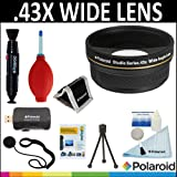 Polaroid Studio Series .43X HD Wide Angle Lens + Cleaning & Accessory Kit For The Nikon 1 J1, V1 Digital SLR Cameras Which Have Any Of These (10-30mm, 30-110mm, 10mm) Nikon 1 Lenses