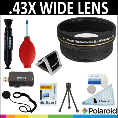 Polaroid Studio Series .43X HD Wide Angle Lens 58mm + Cleaning & Accessory Kit For Digital Cameras, SLR's And Camcorders