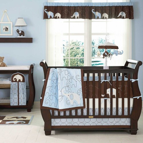 Blue Elephant 5 Piece Baby Crib Bedding Set With Bumper By Carters front-175076