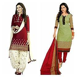 Sky Global Women's Printed Unstitched Regular Wear Salwar Suit Dress Material (Combo pack of 2)(SKY_Combo_355)(SKY_501_Maroon)(SKY_513_MultiColour)
