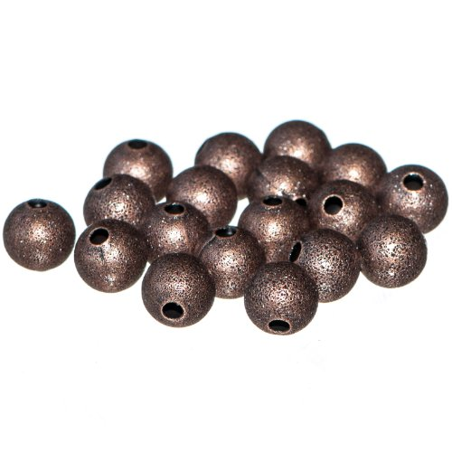 Busy Bead Pack of 80 X Red Copper Coloured Brass Round Stardust Beads 4mm