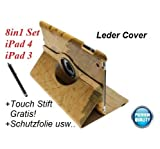 #2: iPad 4 3 2 Edles Smart Cover Leder Schutz Hülle Map Tasche Etui Cover Case 360
