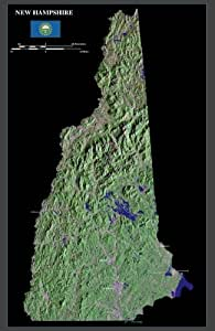 """New Hampshire from space satellite map / print poster / photo: 24"""" x 37"""" Glossy"""
