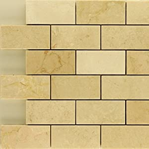 "x4"" Crema Marfil Polished Stone Mosaic Backsplash Marble Tile"