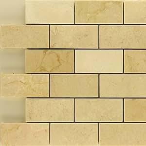"x4"" Crema Marfil Polished Stone Mosaic Backsplash Marble Tile"