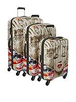 Roncato Set de 3 trolleys rígidos (Crudo / Arena / Rojo)