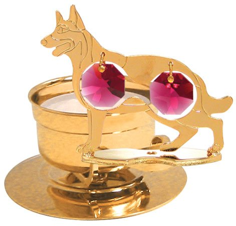 24K Gold Plated German Sheperd Tea-Light..... With Red Swarovski Austrian Crystal