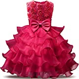 NNJXD Girl Dress Kids Ruffles Lace Party Wedding Dresses Size (150) 7-8 Years Flower Rose