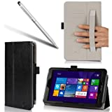 i-BLASON Asus VivoTab Note 8 Case - Leather Book Cover for M80T (Elastic Hand Strap, Multi-Angle, Card Holder) With Bonus Stylus 3 Year Warranty (Black, Asus VivoTab Note 8)