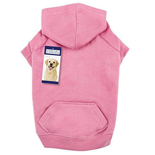 Casual Canine Cotton Basic Dog Hoodie, Small, 12-Inch, Pink