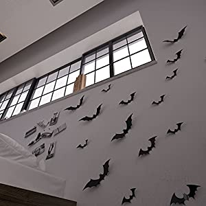 Gefii(TM)Halloween Party 12pcs/pack Black/Luminous PVC 3D Decorative Bats Butterfly Removable Wall Sticker, Halloween eve decor (black) from gefii