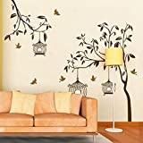 Syga Brown tree with bird cage wall stickers A_FUGF