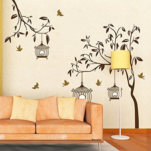 SYGA Wall Sticker Brown tree with Bird Cage