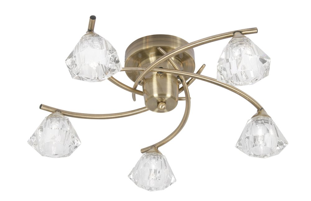 Oaks Lighting Jeo 5-Light Antique Brass Ceiling Light complete with Clear Crystal Effect Glass Shades